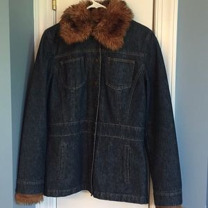 Quilted Jean jacket with Removable fur trim.